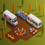 Freizeitaktivitäten rund um den Campingplatz. Kampierendes, isometrische Ikonenzusammensetzung mit Wohnmobilanhängern Paddelboote und menschliche Charaktere mit Lagerfeuervektorillustration wandernd.